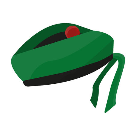 Scottish National traditional cap or beret with bubo and green checkered pattern in red colors.Scotland single icon in cartoon style vector symbol stock illustration.