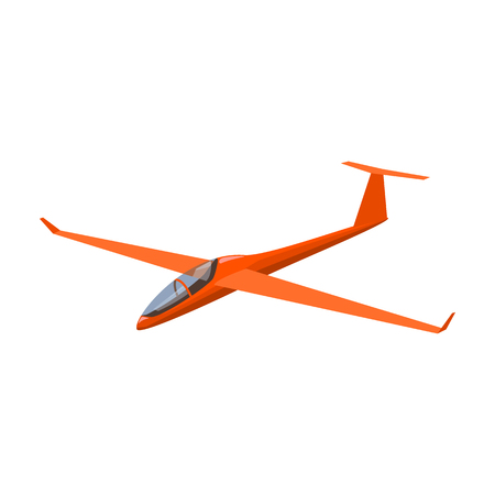 The orange fighter. High speed airplane for one person.Transport single icon in cartoon style vector symbol stock illustration.