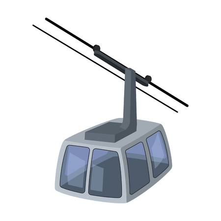 Cable car. Funicular for climbing in the mountains. Holiday winter transport.Transport single icon in cartoon style vector symbol stock illustration. Illustration