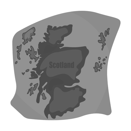 shetland: Scotland the map.Scotland is a Country on the world map.Scotland single icon in monochrome style vector symbol stock illustration.