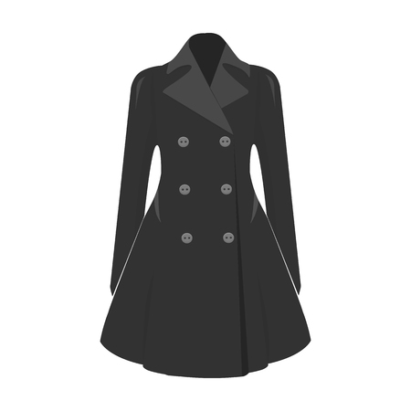 women s clothes: Blue female restrained coat buttoned. Women s outerwear..Woman clothes single icon in monochrome style vector symbol stock illustration.