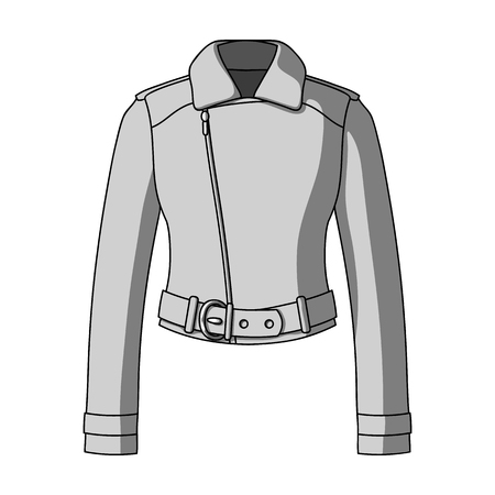 Green youth short leather jackets for confident women.Women clothing single icon in monochrome style vector symbol stock illustration.