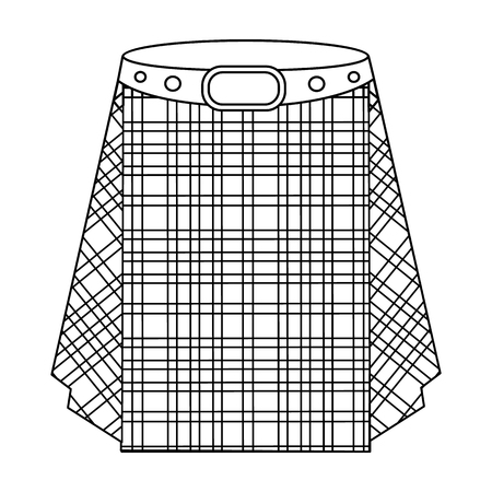 Scottish tartan kilt.The men s skirt for the Scots.Scotland single icon in outline style vector symbol stock illustration.