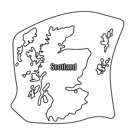shetland: Scotland the map.Scotland is a Country on the world map.Scotland single icon in outline style vector symbol stock illustration.