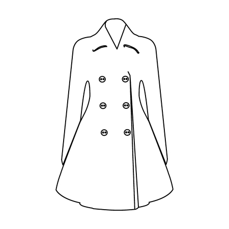 Blue female restrained coat buttoned. Women s outerwear..Woman clothes single icon in outline style vector symbol stock illustration. Illustration