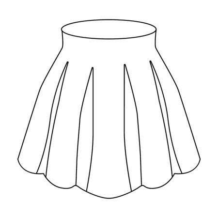 women s clothes: Orange women s light summer skirt with pleats. Beautiful women s summer clothing.Woman clothes single icon in outline style vector symbol stock illustration. Illustration