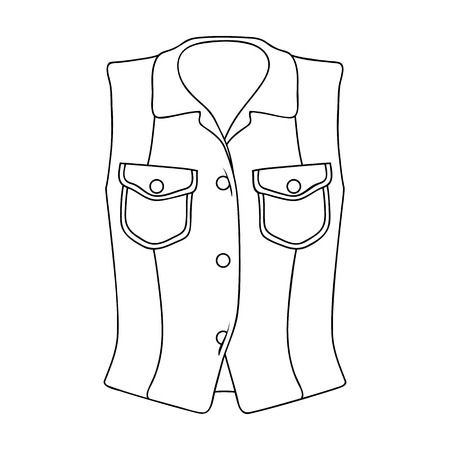 Women Sleeveless Sports Jacket .Beige button-down shirt without sleeves for the girl. Sport dress style.Women clothing single icon in outline style vector symbol stock illustration.