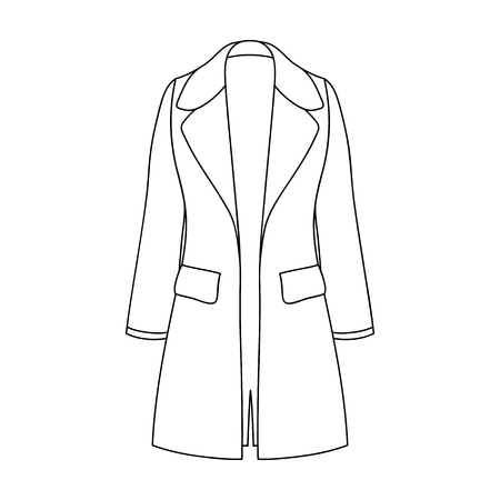 Blue female restrained coat buttoned. Women s outerwear..Women clothing single icon in outline style vector symbol stock illustration.