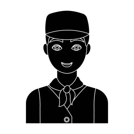 auto service: Belgian guy in a cap and waistcoat.The dark Belgian wolf. Belgium single icon in black style vector symbol stock illustration.