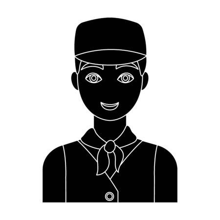 Belgian guy in a cap and waistcoat.The dark Belgian wolf. Belgium single icon in black style vector symbol stock illustration.