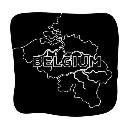 A fragment of the map of Belgium.The dark Belgian wolf. Belgium single icon in black style vector symbol stock illustration.