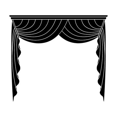 blake and white: Curtains with drapery on the cornice.Curtains single icon in blake style vector symbol stock illustration web.