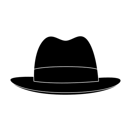 blake and white: Brown hat with a brim. Headdress investigator for cover.Detective single icon in blake style vector symbol stock illustration.