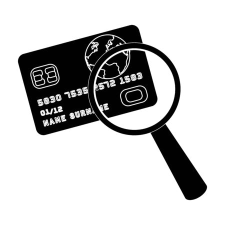 blake and white: Plastic credit card with a magnifying glass. Detective looking for fingerprints.Detective single icon in blake style vector symbol stock illustration. Illustration