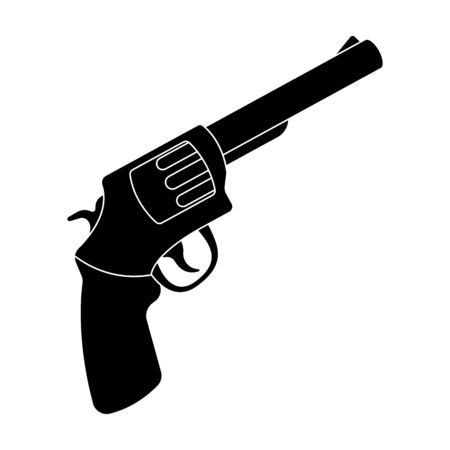 blake and white: Pocket revolver. The weapons detective, for protection from robbers.Detective single icon in blake style vector symbol stock illustration.