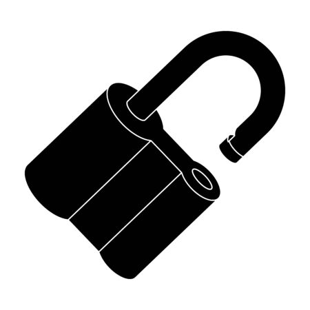 blake and white: Padlock hacked. The challenge for the Pathfinder to solve the crime.Detective single icon in blake style vector symbol stock illustration.