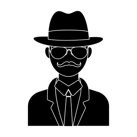 Man in hat suit raincoat and glasses. The detective undercover.Detective single icon in blake style vector symbol stock illustration.