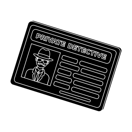 Documents of a private detective. Card that shows the personality of the detective.Detective single icon in blake style vector symbol stock illustration.