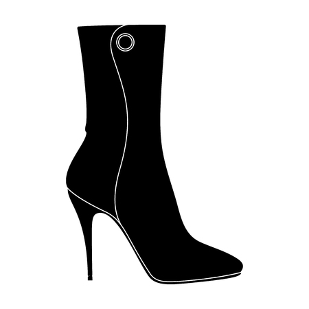 Demi tall womens boots high heel.Different shoes single icon in black style vector symbol stock illustration. Ilustrace