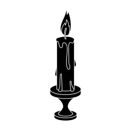 Burning candle from paraffin wax. Easter single icon in black style vector symbol stock illustration.