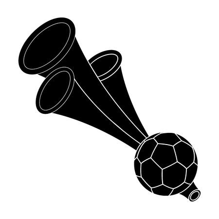 fife: Trumpet football fan.Fans single icon in black style vector symbol stock illustration. Illustration