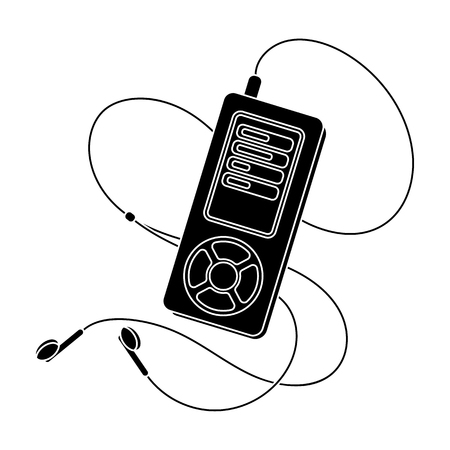MP3 player for listening to music during a workout.Gym And Workout single icon in black style vector symbol stock illustration.