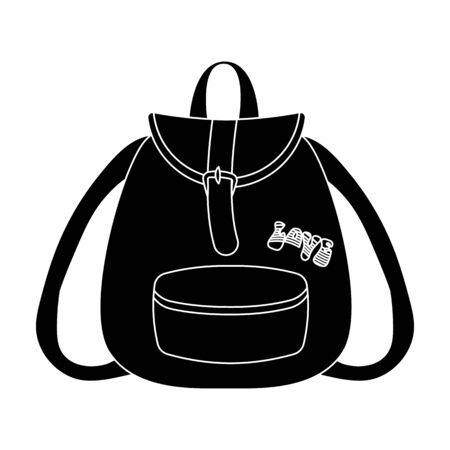 Green hippy backpack.Hippy single icon in black style vector symbol stock illustration web.
