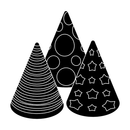 happybirthday: Caps in the form of cones for party.Party and parties single icon in black style vector symbol stock illustration.