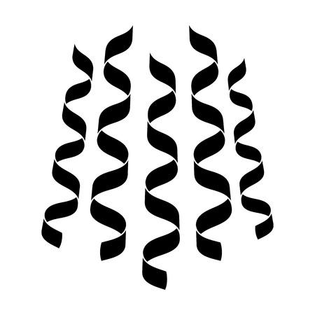 Serpentine, linten voor de decoratie van de partij. Feest en partijen enkel pictogram in zwarte stijl vector symbool stock illustratie.