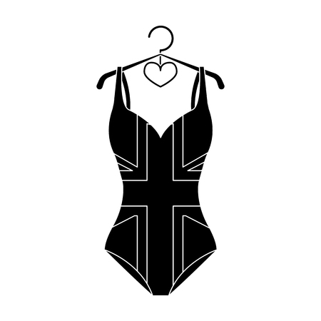 Pink swimsuit for the beach stripe and star.Swimming costume.Swimcuits single icon in black style vector symbol stock illustration.