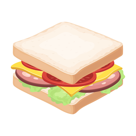 A sandwich with bread and sausage.Burgers and ingredients single icon in cartoon style vector symbol stock illustration.