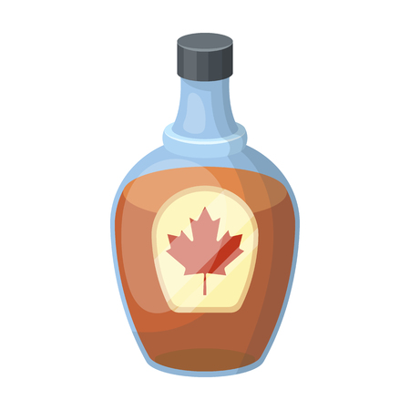 Canadian maple syrup in a bottle. Canada single icon in cartoon style vector symbol stock illustration web. Illustration