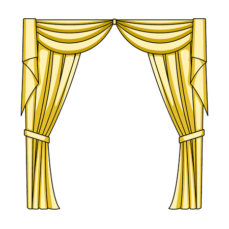 Curtains with drapery on the cornice.Curtains single icon in cartoon style vector symbol stock illustration web.