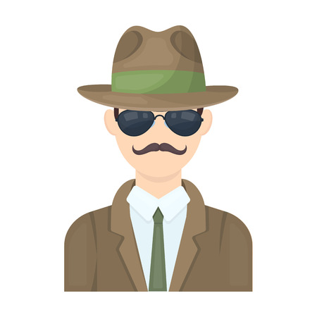 Man in hat suit raincoat and glasses. The detective undercover.Detective single icon in cartoon style vector symbol stock illustration.