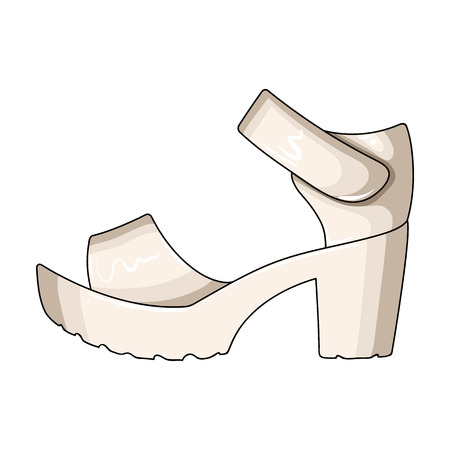 75968690 - Frauen Sommer weißen Sandalen auf einem nackten Fuß.Different  Schuhe einzigen Symbol in Cartoon-Stil Vektor-Symbol stock Illustration. ed4e2e27b2