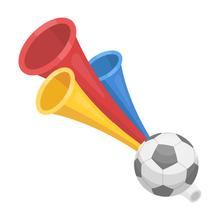 Trumpet football fan.Fans single icon in cartoon style vector symbol stock illustration.