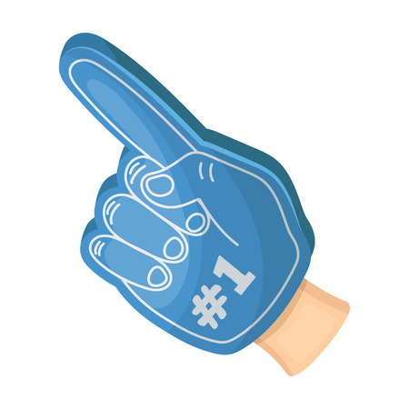 Number one is the fans glove.Fans single icon in cartoon style vector symbol stock illustration.