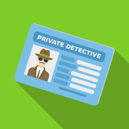 Documents of a private detective. Card that shows the personality of the detective.Detective single icon in flat style vector symbol stock illustration.