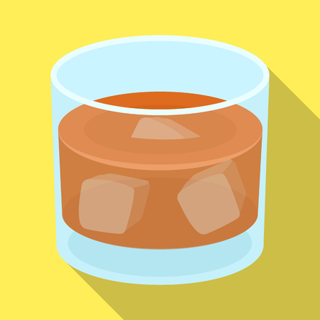 Glass glass of whiskey with ice. Alcoholic beverage of the detective.Detective single icon in flat style vector symbol stock illustration. Illustration