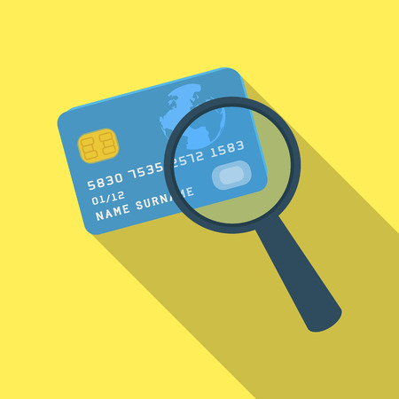 plastic credit card with a magnifying glass detective looking for fingerprintsdetective single icon - Plastic Credit Card