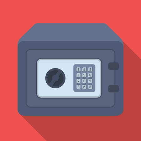 Realistic Steel safe.Safe under combination lock. Metal box is hard to open.Detective single icon in flat style vector symbol stock illustration. Illusztráció