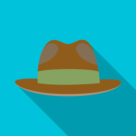 Brown hat with a brim. Headdress investigator for cover.Detective single icon in flat style vector symbol stock illustration. Illustration