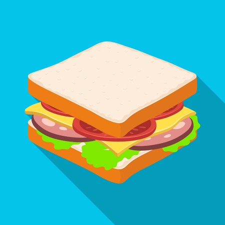 A sandwich with bread and sausage.Burgers and ingredients single icon in flat style vector symbol stock illustration.