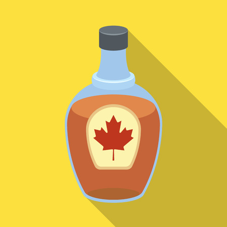 Canadian maple syrup in a bottle. Canada single icon in flat style vector symbol stock illustration web.