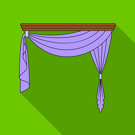 home theater: Curtains with drapery on the cornice.Curtains single icon in flat style vector symbol stock illustration web.