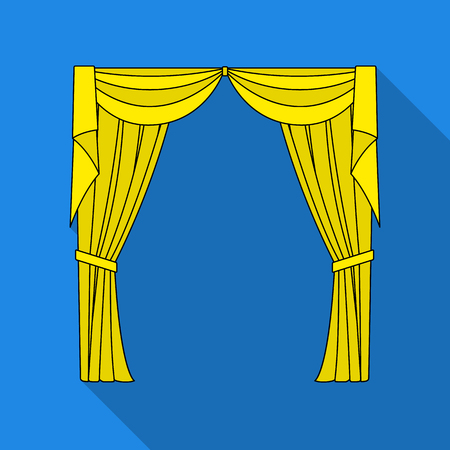 Curtains with drapery on the cornice.Curtains single icon in flat style vector symbol stock illustration web.