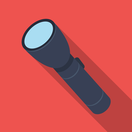 Flashlight, lighting facility for the detective. Outfit of a detective.Detective single icon in flat style vector symbol stock illustration.
