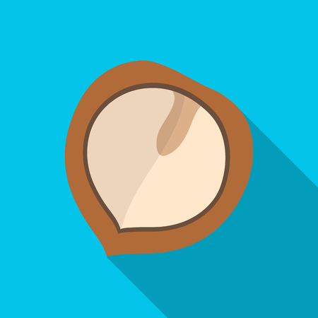 Manchurian walnut.Different kinds of nuts single icon in flat style vector symbol stock illustration.