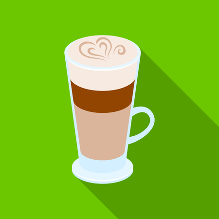 Cup of coffee macchiato with foam. Different types of coffee single icon in flat style vector symbol stock illustration web.