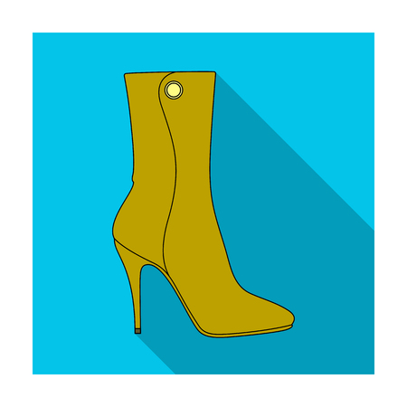 footwear: Demi tall womens boots high heel.Different shoes single icon in flat style vector symbol stock illustration.